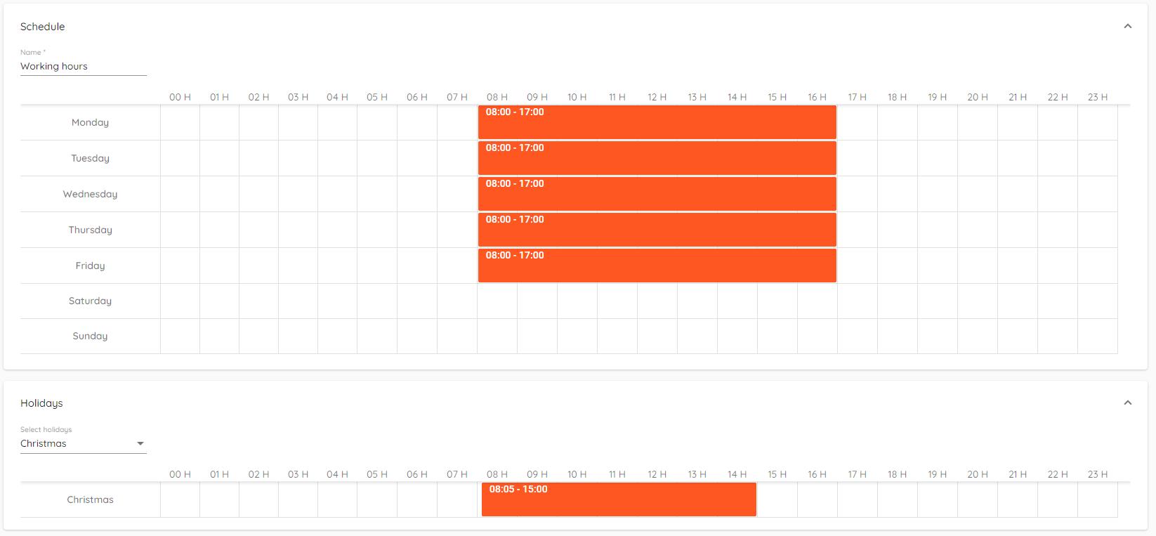 Scheduled holidays