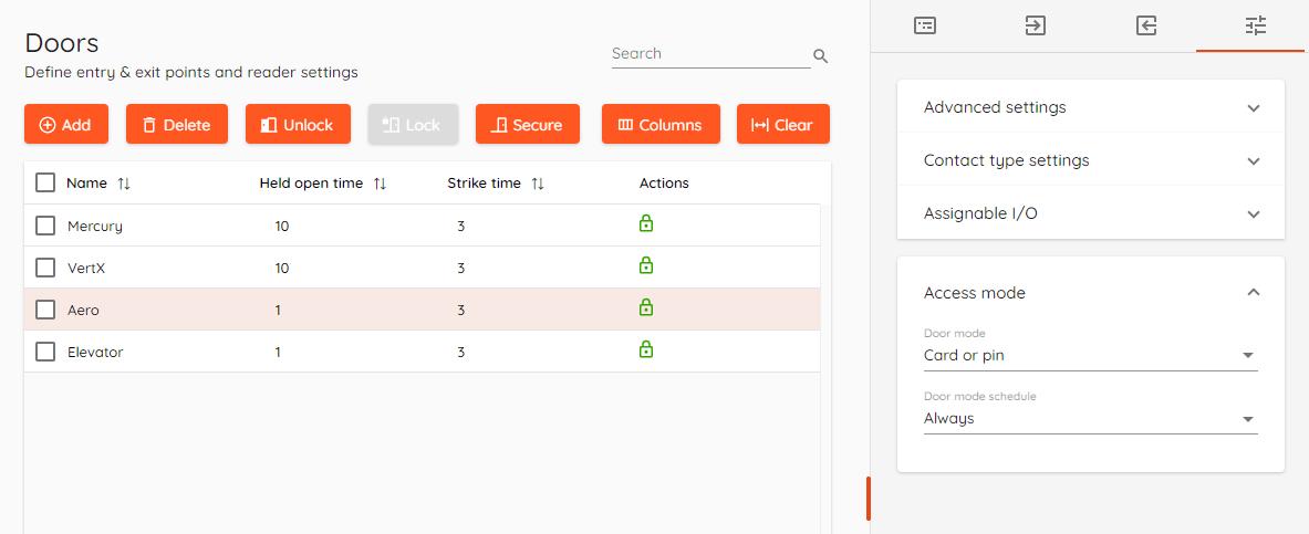 Door mode schedule